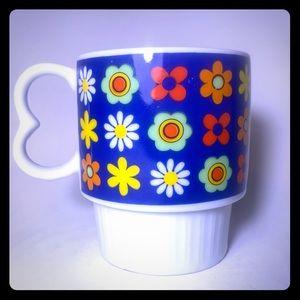Vintage Groovy Flower Power Heart Mug 60s 70s